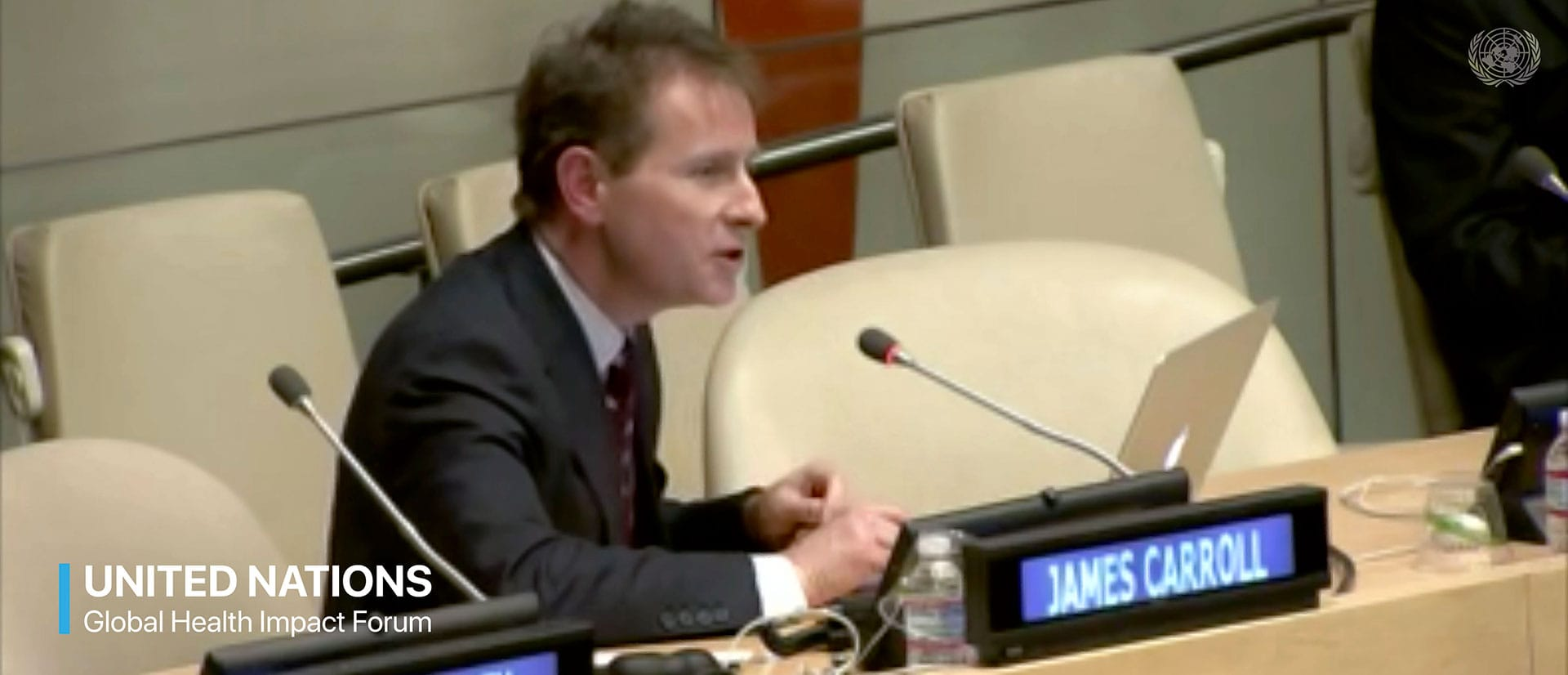 James Carroll addressing the United Nations Global Health Impact Forum about the uses of Photobiomodulation